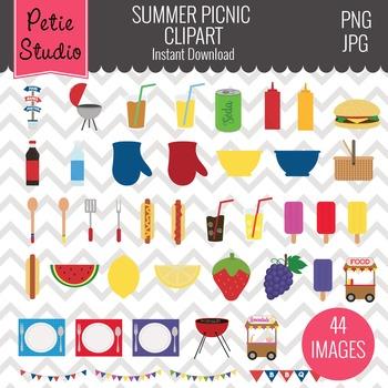 Summer Picnic Clipart, Summer Cookout Clipart, Food Clipart.