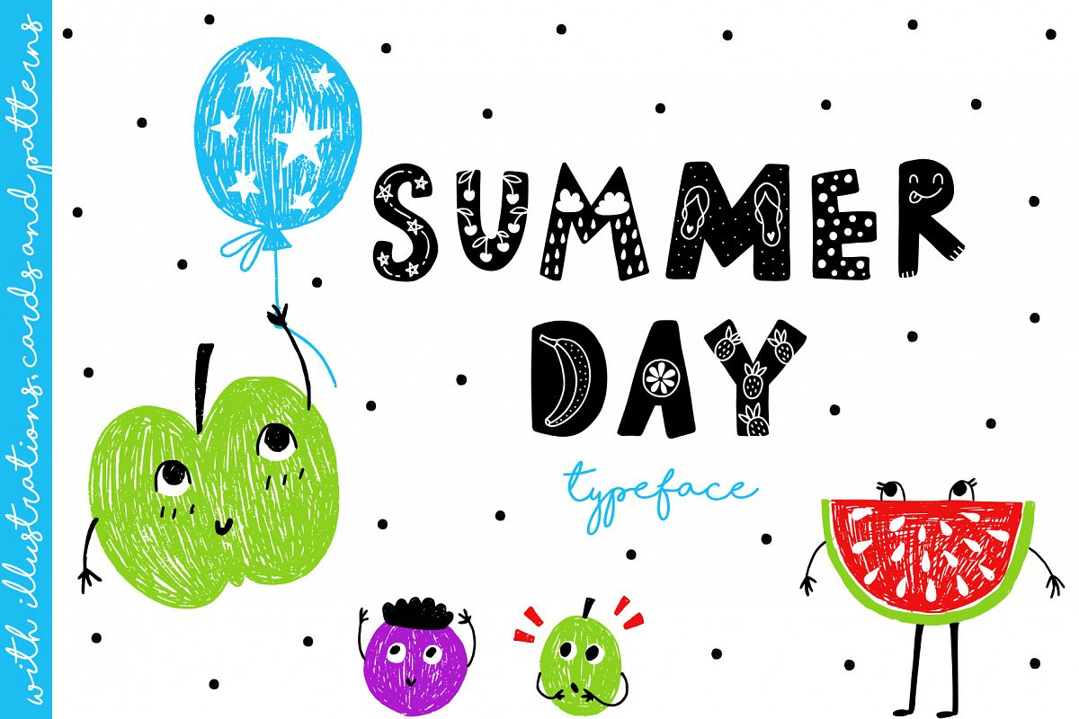 Summer Day Typeface with Clipart!.