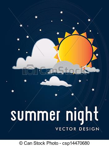 Vector of summer night over sky background vector illustration.