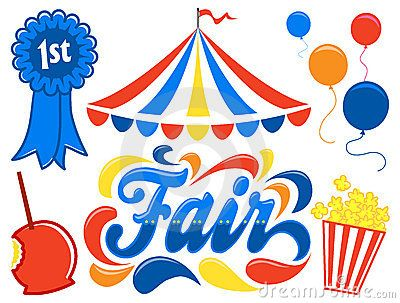Illustrated logotype headline of the title Fair, with.