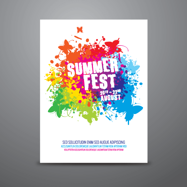 Summer Festival Poster Design Template Vector.