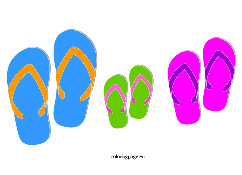 Summer flip flop clipart coloring page.