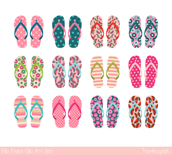 Pink flip flops clipart, Summer clip art, beach shoes sandals, vacation,  holiday.