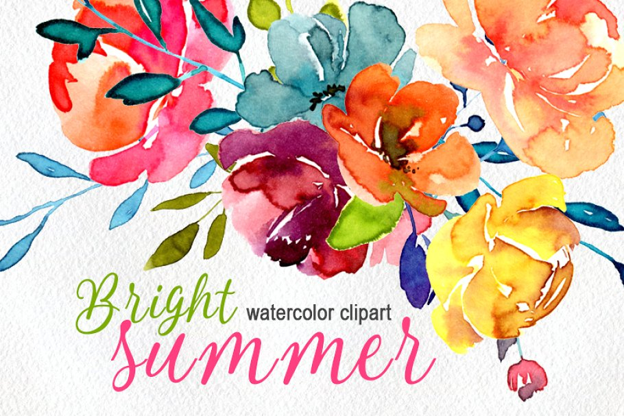 Bright watercolor summer flowers png.