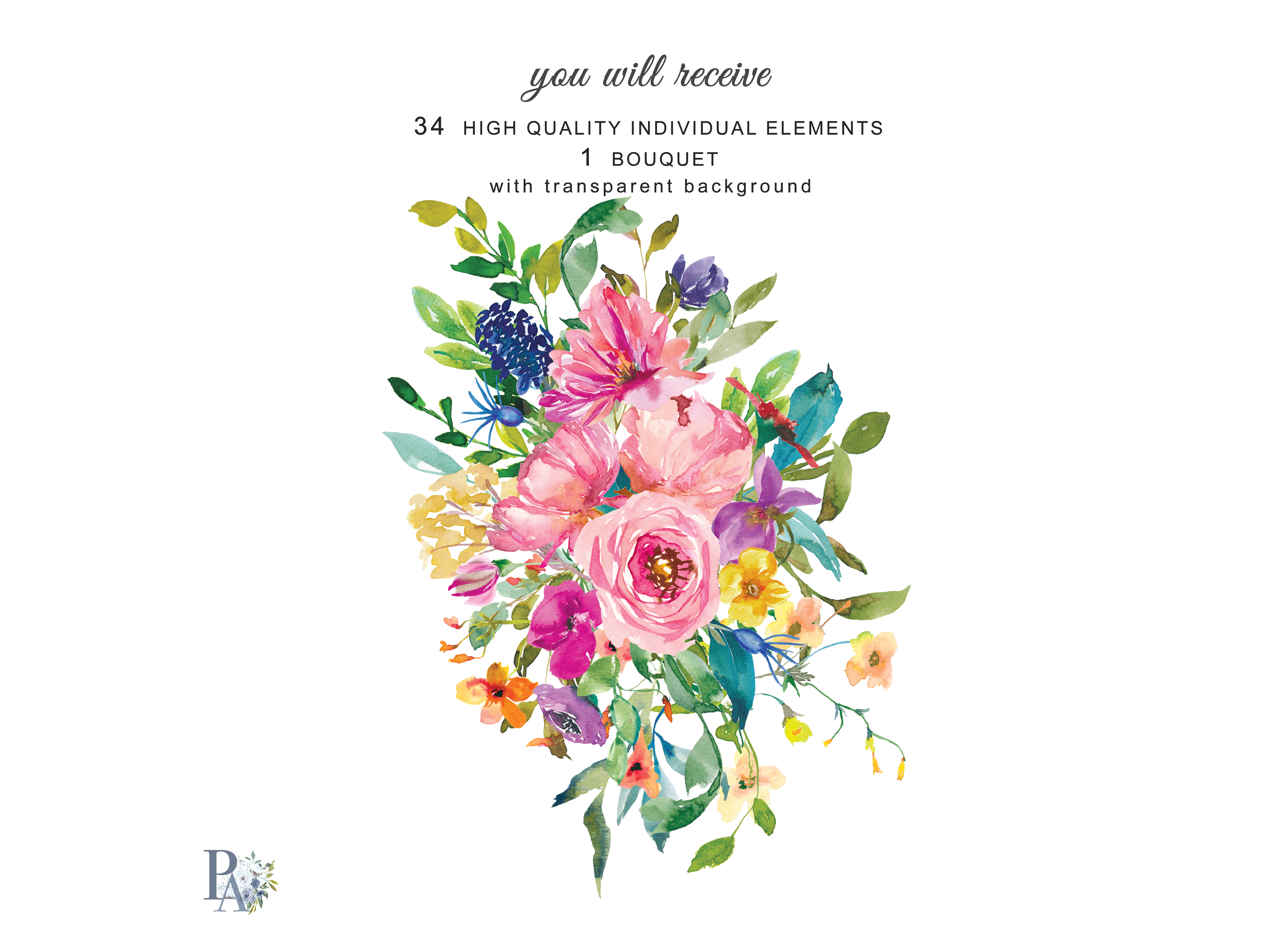Hand Painted Watercolor Summer Flowers Clip Art.