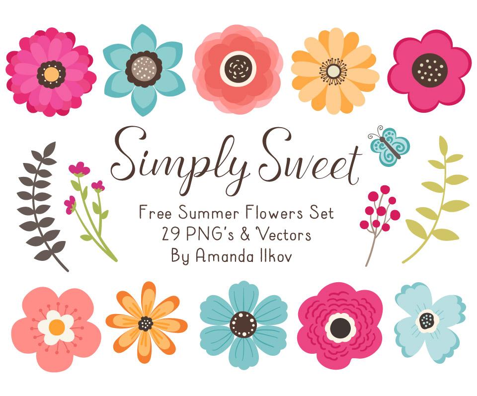 Free Summer Flowers Clipart & Vectors.