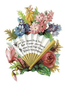 Victorian Summer Flowers Clip Art.