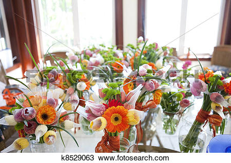 Stock Photo of gerbera, tulips and mix of summer flowers bouquet.