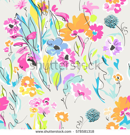 Floral Seamless Pattern Bright Summer Flowers Stock Vector.