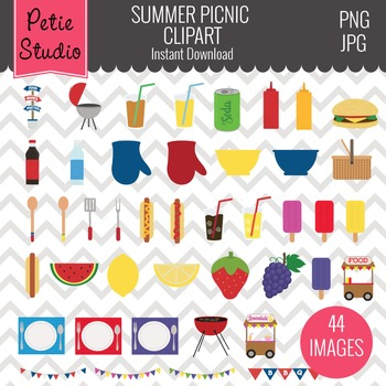 Summer Picnic Clipart, Summer Cookout Clipart, Food Clipart.