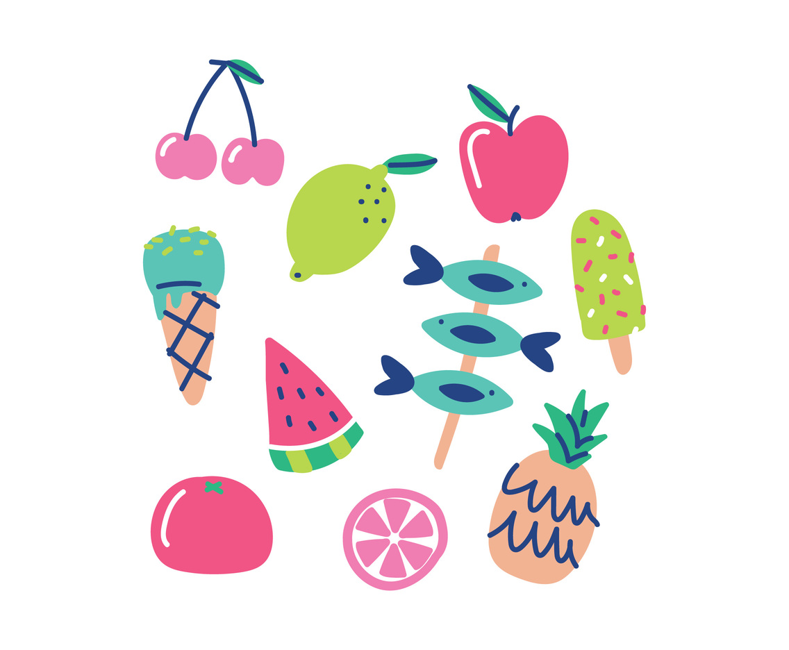 Cute Colorful Summer Foods Vector Art & Graphics.