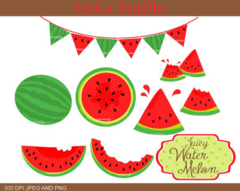 Watermelon Clip Art Fruit clipart from EclairdeLune1 on Etsy Studio.