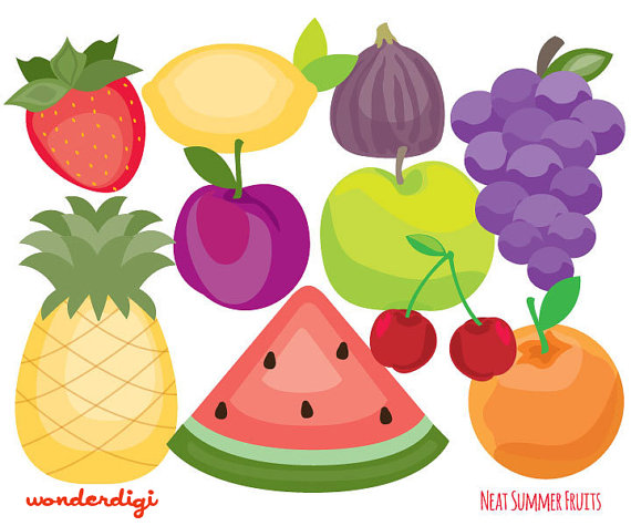Set of fruits clipart.