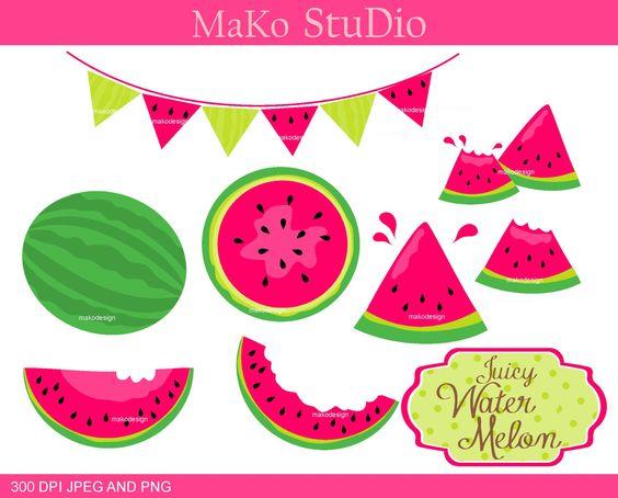 watermelon clip art ,summer melon Digital clip art, summer fruits.