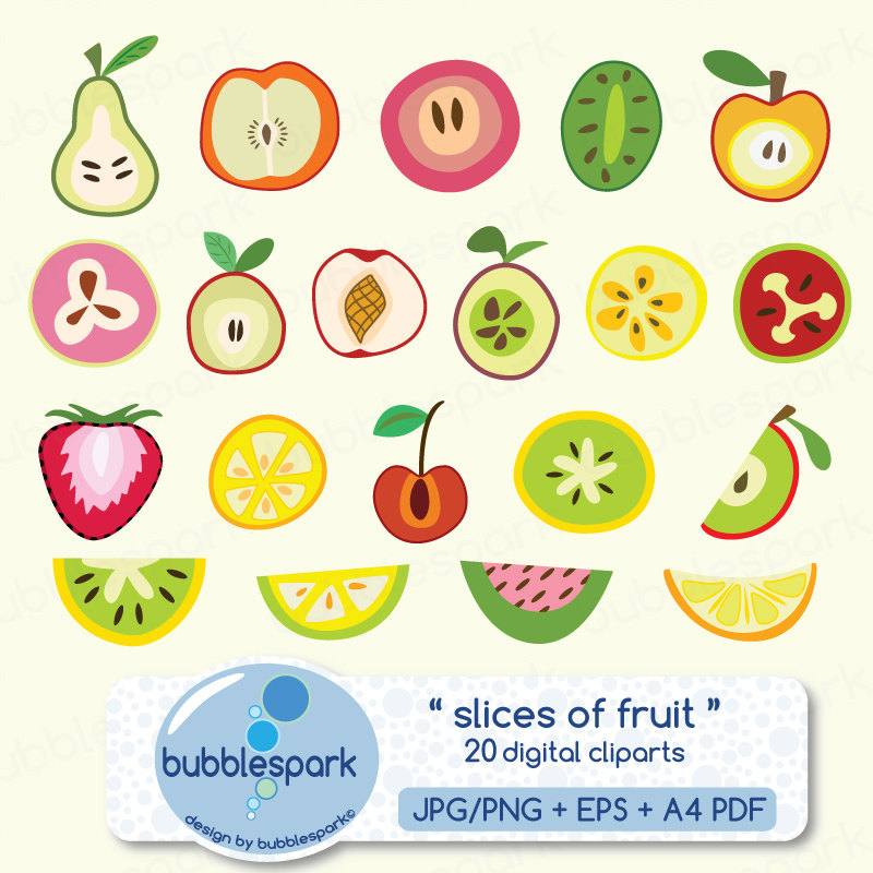slices of fruit digital clip art summer by bubblesparkstore.