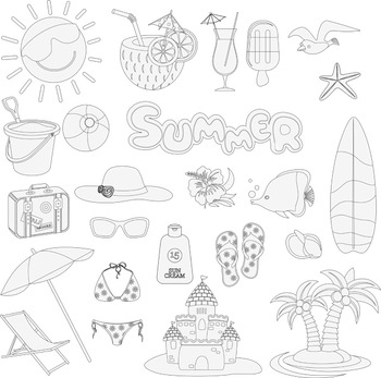 Beach Fun Clip Art Summer Vacation Travel Clipart.