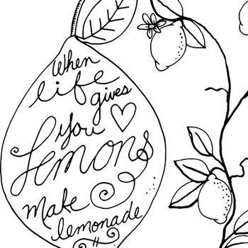 Lemon Fresh Line Art, Summer Fun, Lemon Tree Outline Art Illustration.