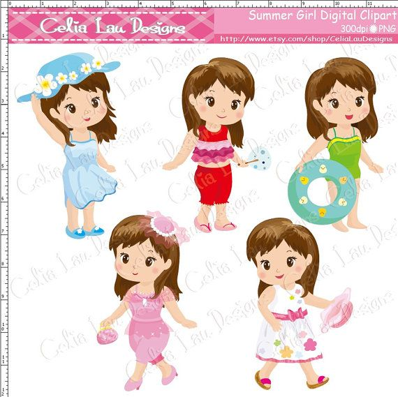Summer Girl Clipart Cute Girl clip art for by.