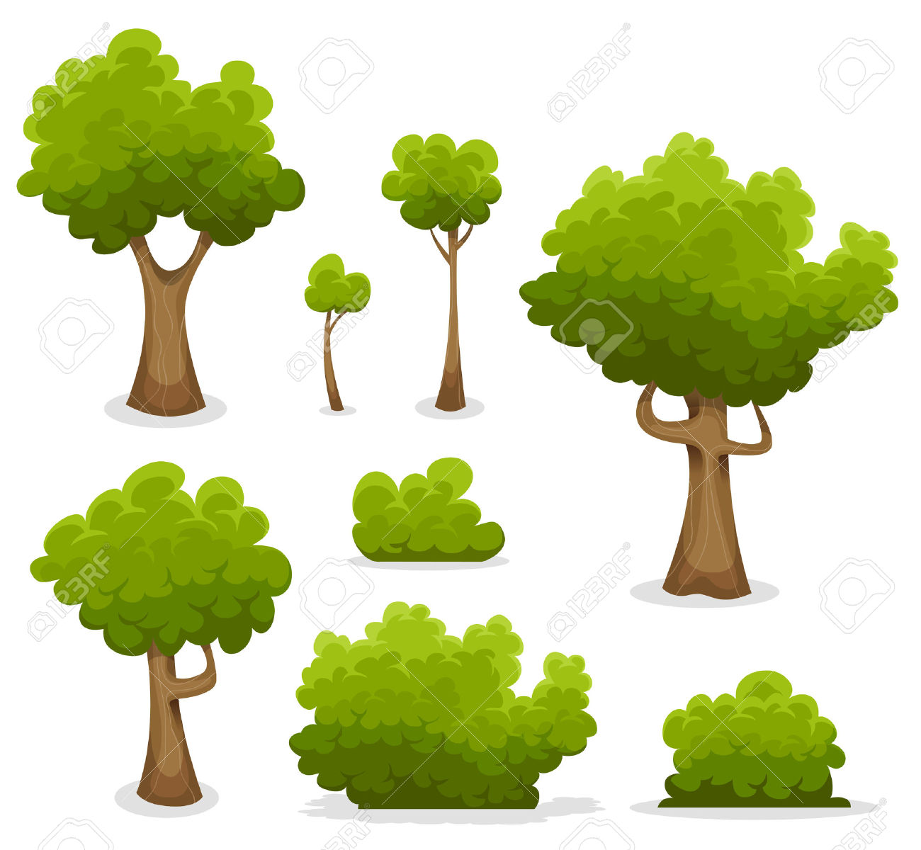 Illustration Of A Set Of Cartoon Spring Or Summer Forest Trees.