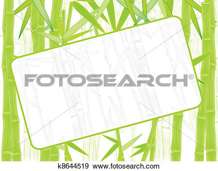 Clip Art of summer green bamboo border k8644519.