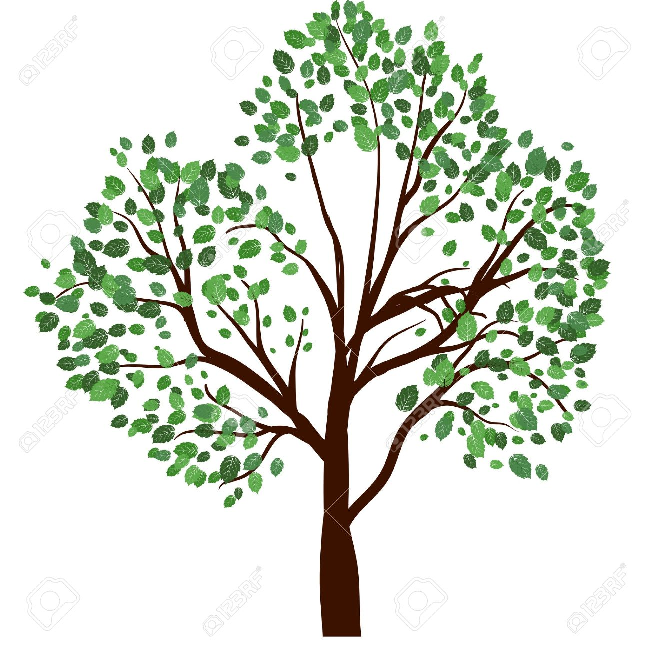 Summer Tree With Green Leaves. EPS 10 Vector Illustration. Royalty.