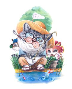 cat family on the summer holiday Clipart Image.