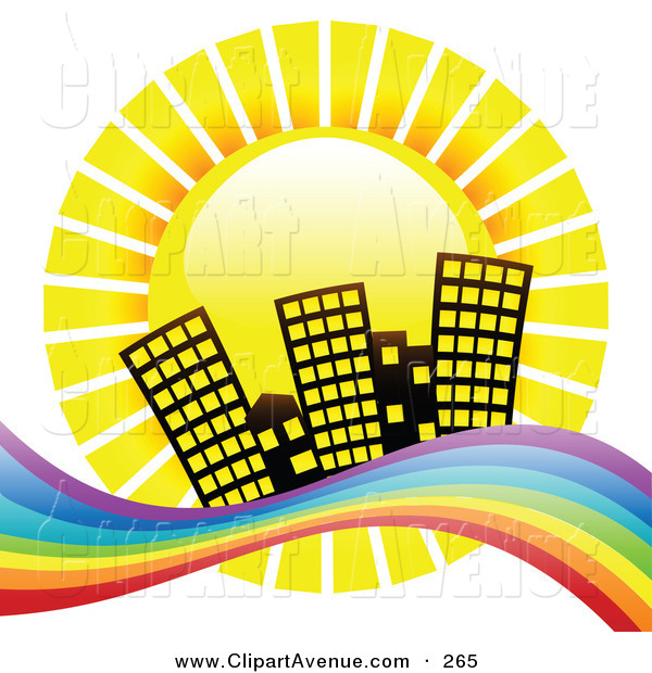 Avenue Clipart of a Yellow Summer Sun Shinging down Hotel.