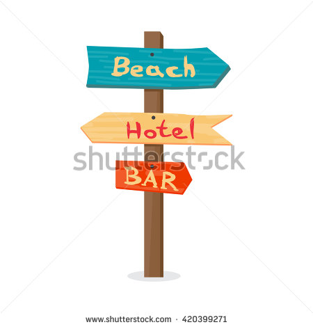 Wooden Pointer To The Beach, The Hotel, In The Bar. Summer.