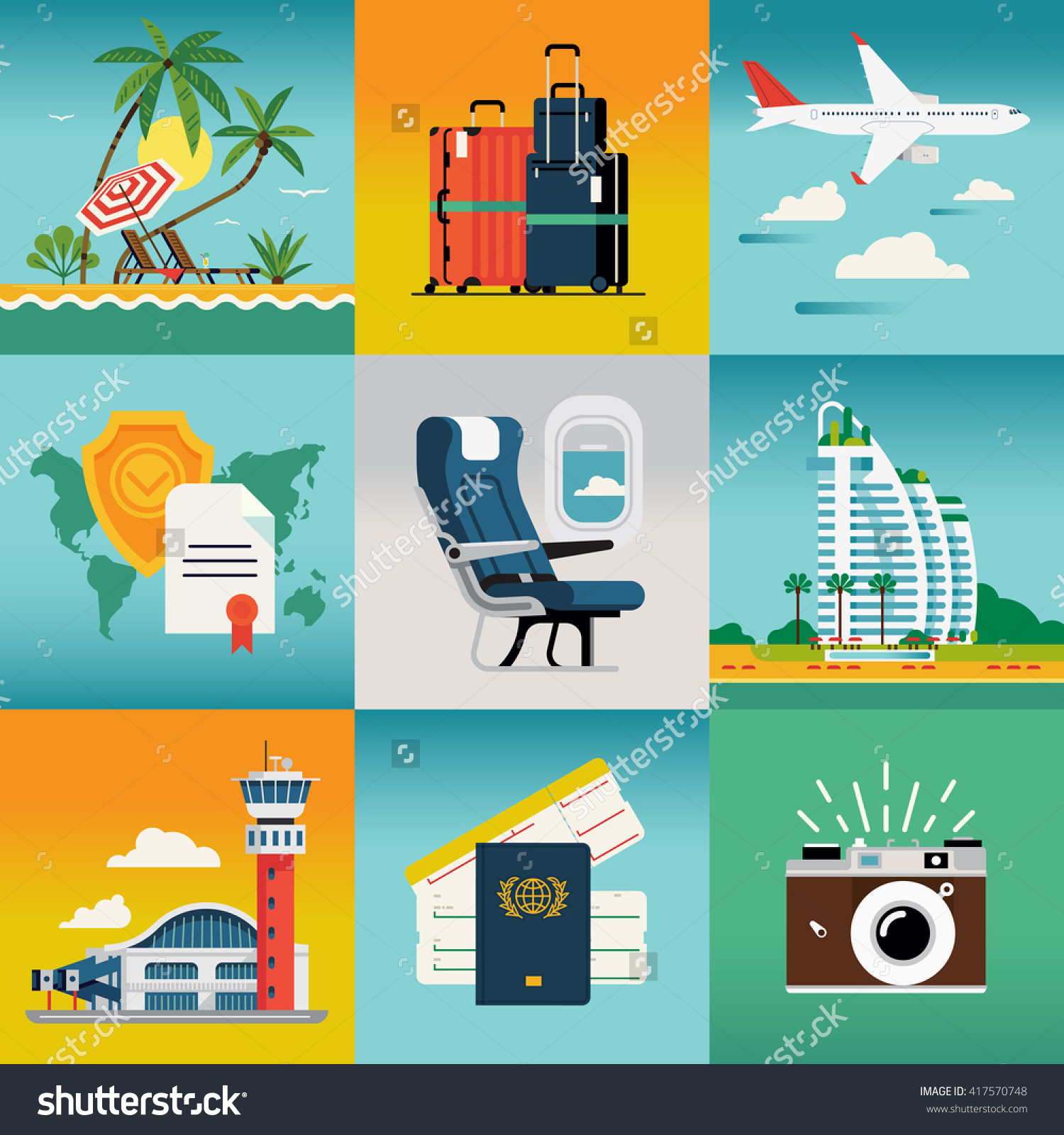 Travel Summer Trip Destination Beach Resort Stock Vector 417570748.