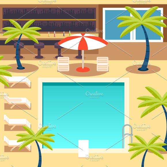 Sunny Pool Hotel Summer ~ Illustrations on Creative Market.