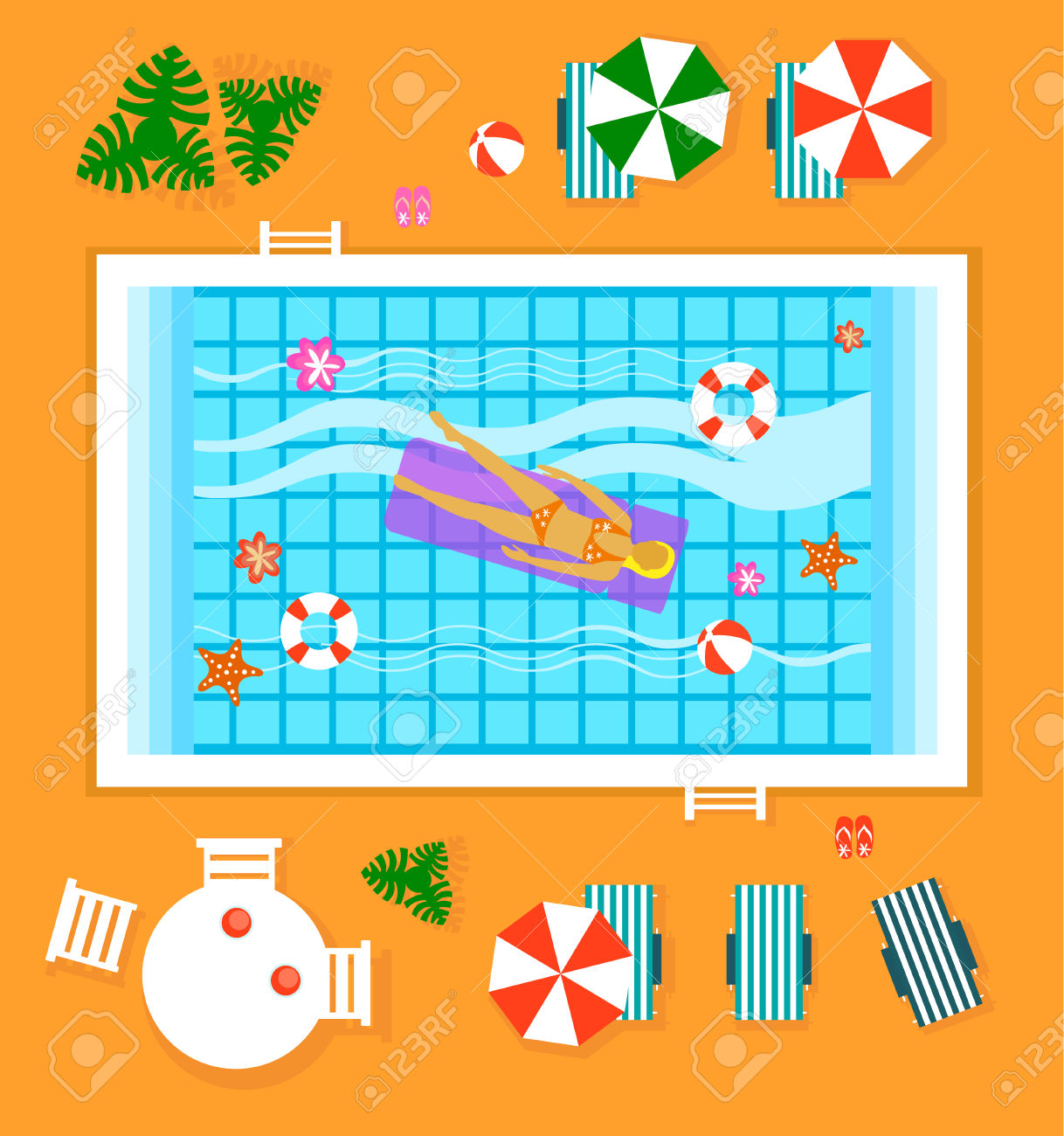 Happy People Sunny Pool Hotel Summer Vacation Flat Design Concept.