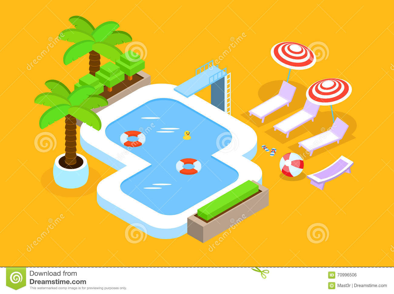 Top View Pool Hotel Stock Illustrations.