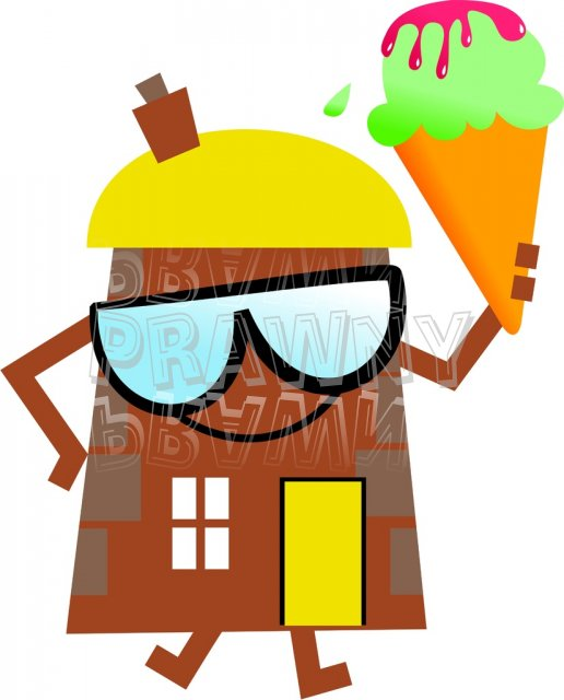 Summer House Cartoon Clip Art Illustration.