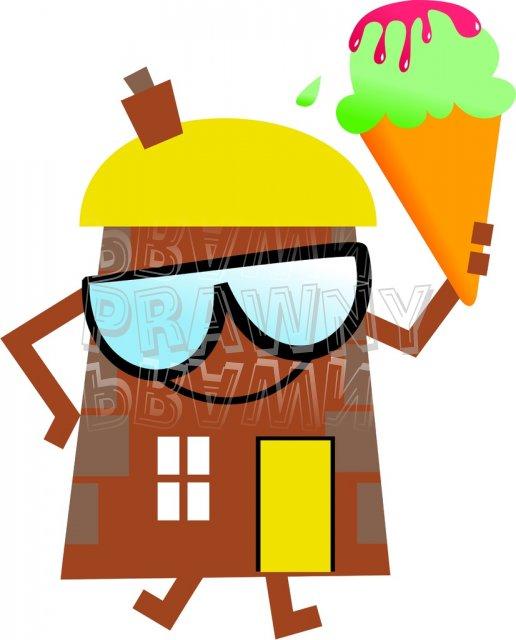 Summer House Cartoon Clip Art Illustration.