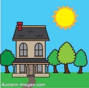 Clipart Picture of a House in Summertime.