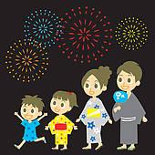 Clip Art of japanese summer festival graphic k8300002.