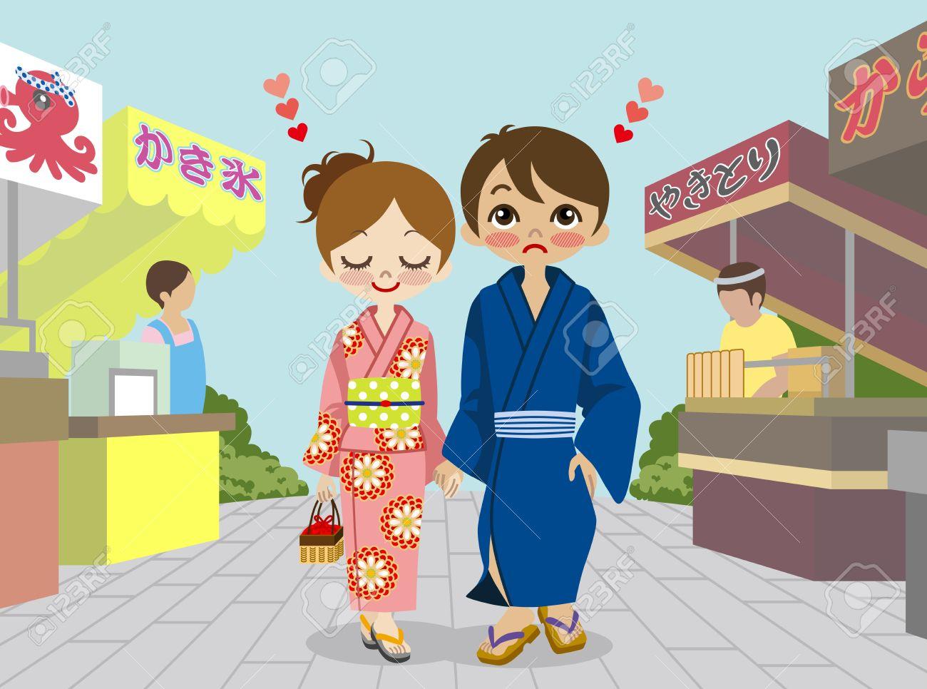 Japanese summer festival yukata