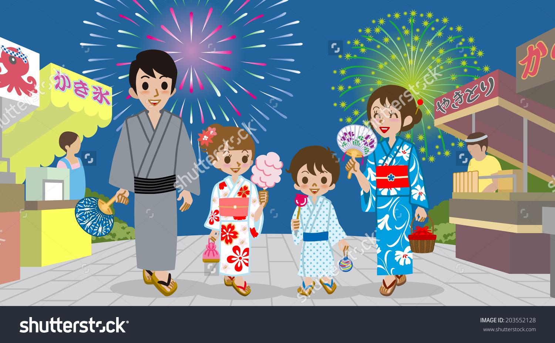Family Enjoying Japanese Firework Display Japanese Stock Vector.