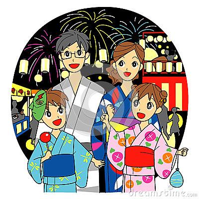 Summer Festival In Japan, Family Stock Vector.
