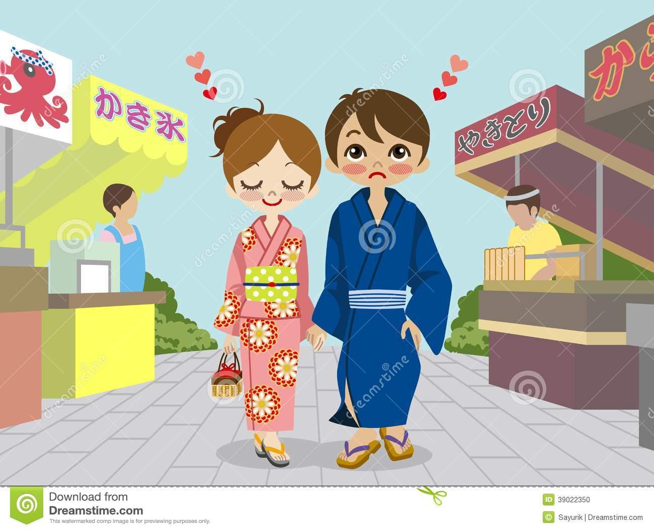 Kimono Couple In Japanese Summer Festival Stock Vector.
