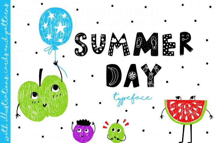Download Summer Day Typeface with Clipart! Font Family From.