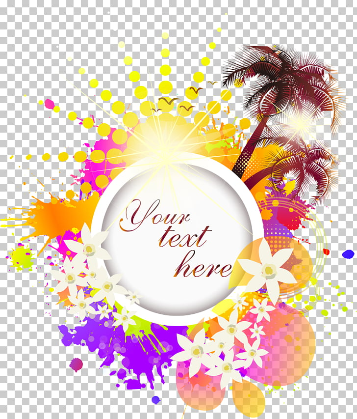 Summer elements, floral background with your text here text.