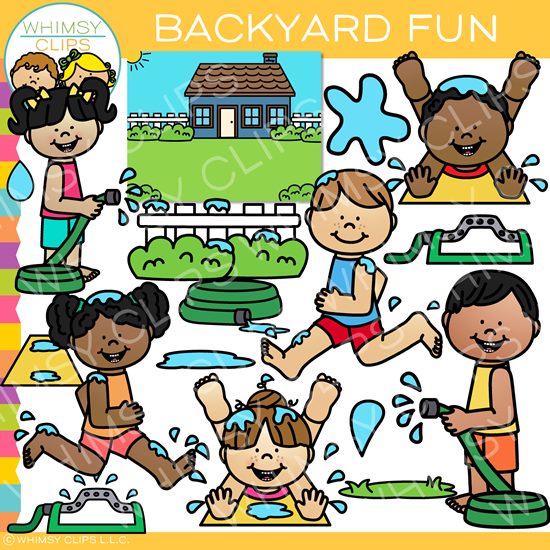 Summer Kids Having Fun in the Backyard Clip Art.