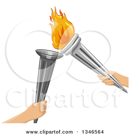 Clipart of Sun and Snowflake Wnter Summer Torches.