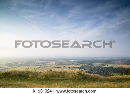 Stock Photography of English countryside landscape during late.