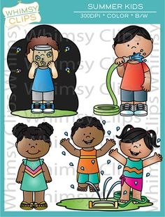 Kids catching lighting bugs clipart.