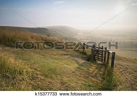 Stock Photo of English countryside landscape during late Summer.