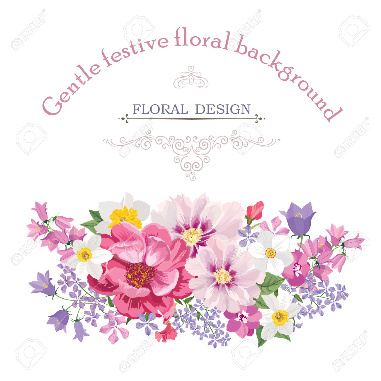 Floral Frame With Summer Flowers. Floral Bouquet With Rose.