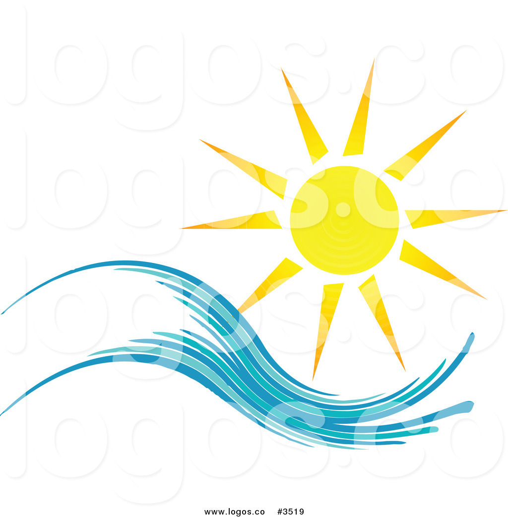 Royalty Free Summer Sun and Wave Logo by KJ Pargeter.