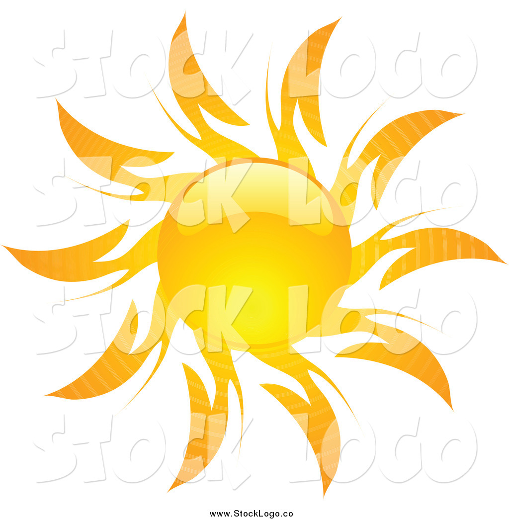Vector Clipart of a Shiny Hot Summer Sun Logo by KJ Pargeter.